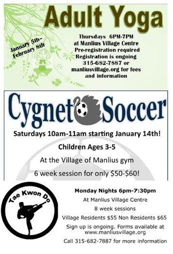 Adult Yoga. Cygnet Soccer. Tae Kwon Do.